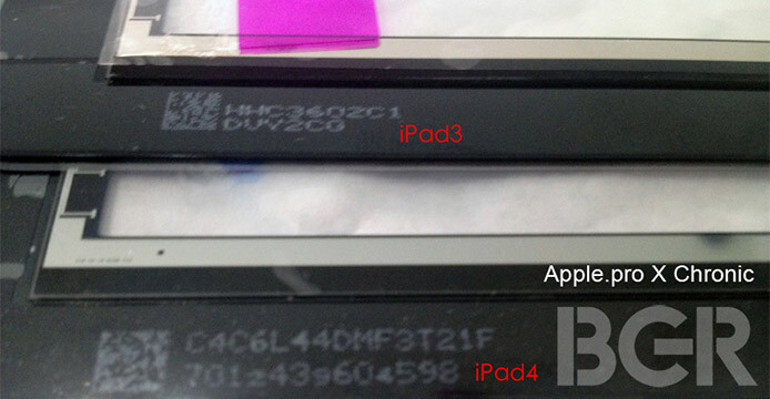 Optical Bonding will make the Apple iPad 4 screen thinner - Alleged image of Apple iPad 4 screen shows a bigger hole for FaceTime camera