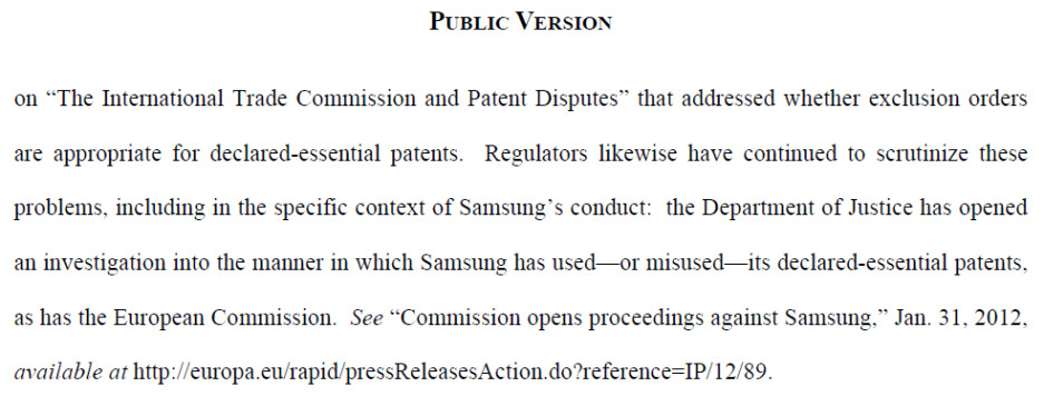 Apple's statement says the DOJ is after Samsung - Apple's filing reveals DOJ investigation of Samsung's use of its FRAND patents