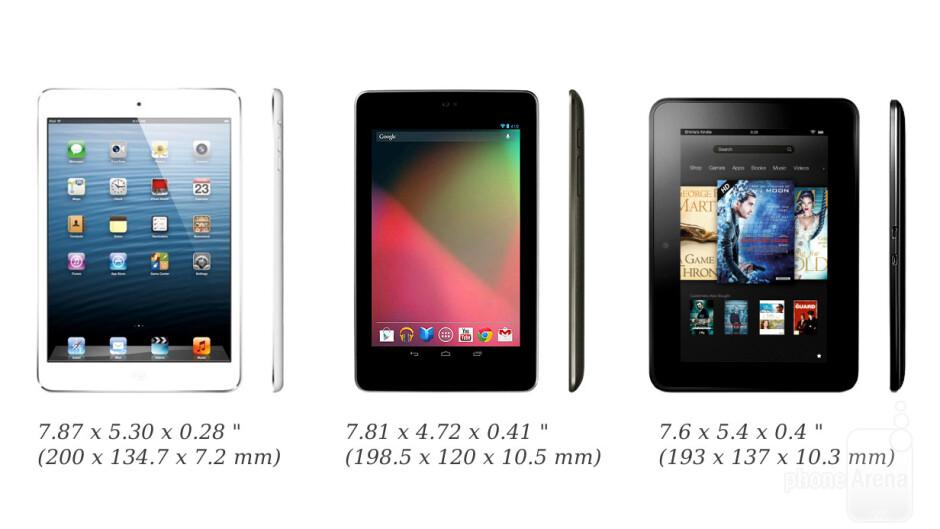 iPad mini, Nexus 7 and Kindle Fire HD - iPad mini vs Nexus 7 vs Kindle Fire HD: size comparison
