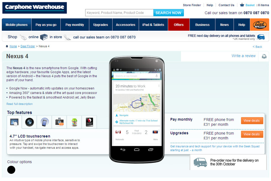LG Nexus 4 pre-order page goes live in the UK