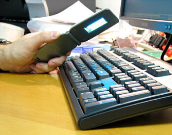 A UV disinfectant used to sanitize a keyboard