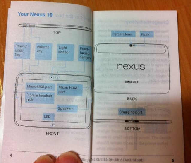 Leaked Users Manual for the Samsung Nexus 10 tablet - Leaked Samsung Nexus 10 Users Manual shows tablet's design
