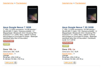 The 32GB 3G Google Nexus 7 can be pre-ordered from a Latvian site