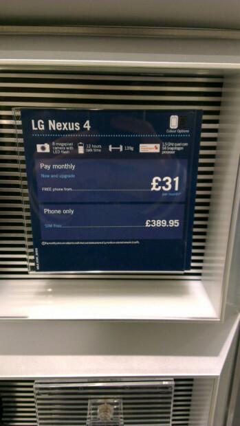 Pricing of the LG Nexus 4 in the U.K.