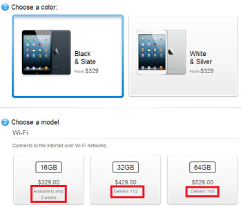 The Black Wi-Fi only Apple iPad is now on backorder mini