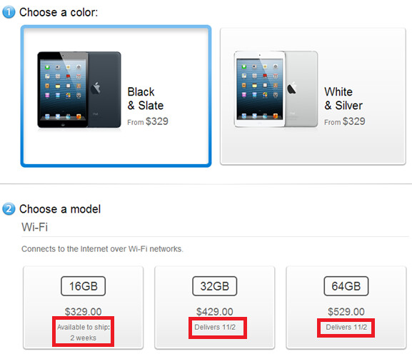 The Black Wi-Fi only Apple iPad is now on backorder mini - 16GB Wi-Fi only Apple iPad mini in black joins all white units in selling out