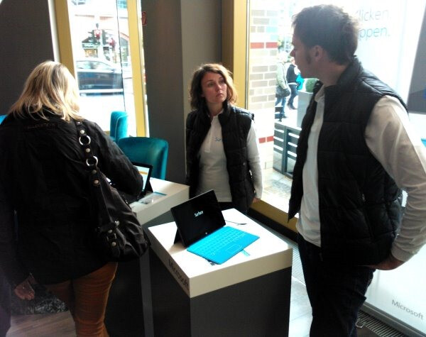 Two Microsoft Surface tablets were available for visitors to test - Microsoft opens Microsoft Surface Experience Centers in Australia and Europe