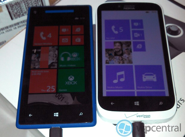 The HTC 8X (L) and the Nokia Lumia 822 followed by the back of the HTC model - Nokia Lumia 822 and HTC 8X said to launch November 8th from Verizon