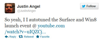 Tweet from Angel about the Auto-tuned video