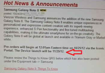 A leaked internal Verizon memo (L) shows a November 29th launch date for the Samsung GALAXY Note II while Verizon's web site shows a November 27th delivery date