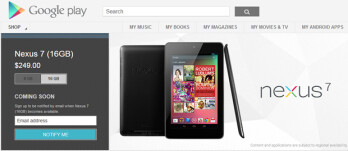 The 8GB and 16GB Google Nexus 7 tablet models are out of stock at the Google Play store