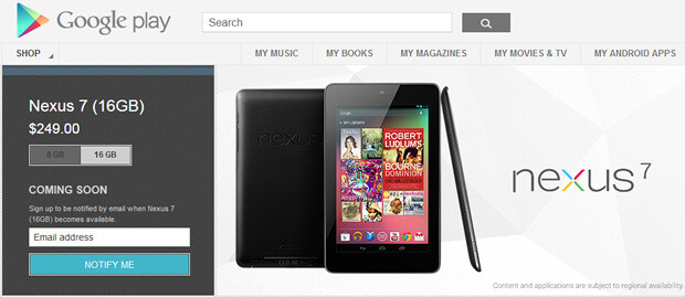 The 8GB and 16GB Google Nexus 7 tablet models are out of stock at the Google Play store - 8GB and 16GB Google Nexus 7 models are out of stock at the Play store