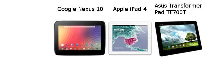 Nexus 10 vs iPad 4 vs Asus Transformer Pad Infinity specs comparison