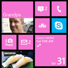Modern UI with Live Tiles and big fonts.