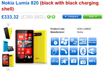 The Nokia Lumia 820 can also be pre-ordered from Clove in the U.K.