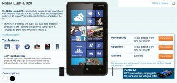Pre-order the Nokia Lumia 820 from Carphone Warehouse
