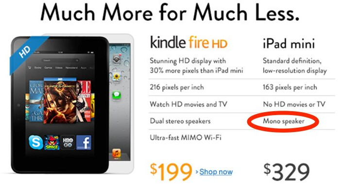 Amazon takes on the Apple iPad mini - Amazon mistake: Apple iPad mini has stereo speakers