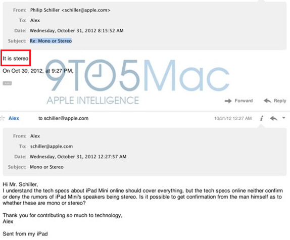 The back and forth emails that ended with Schiller's response - Amazon mistake: Apple iPad mini has stereo speakers