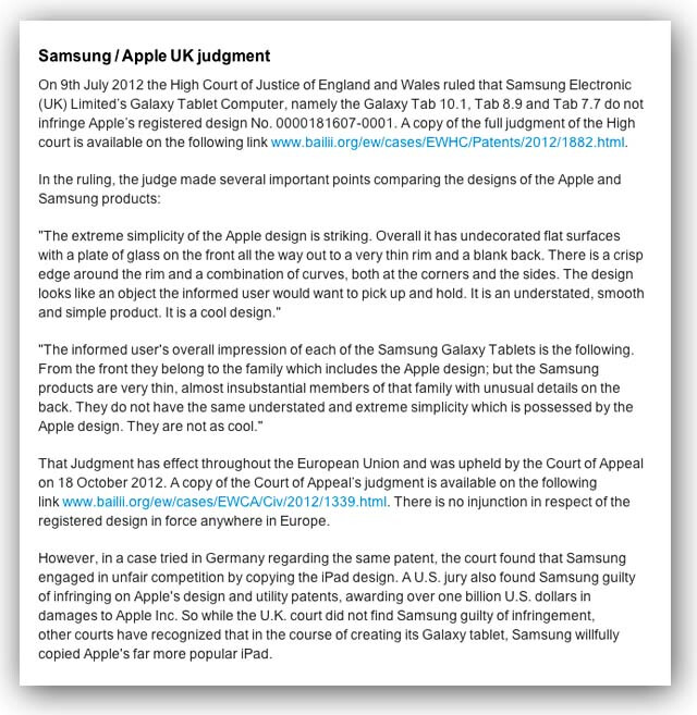 """Apple's 'apology' to Samsung leaves U.K. judge """"at loss"""""""