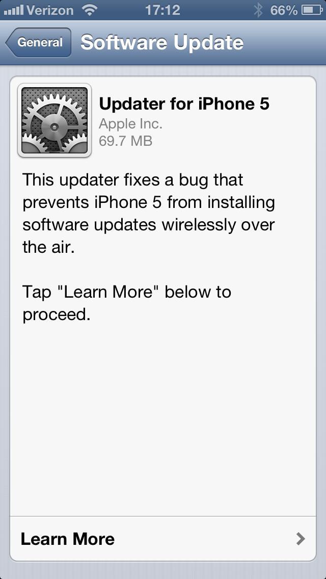 iOS updater app first