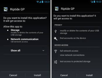 App permissions on Android 4.1 (left) and 4.2 (right)