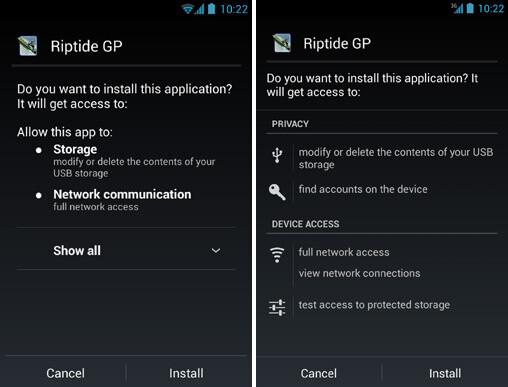 App permissions on Android 4.1 (left) and 4.2 (right) - Android 4.2 spreads security to third-party app stores: here is how