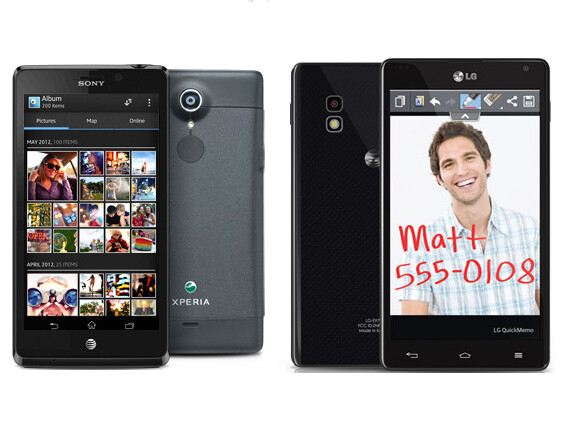 Xperia TL (left) and Optimus G (right) - Optimus G and Xperia TL can now be purchased from AT&T