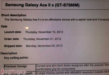 Leaked internal Bell document points to November 15th launch for the Samsung Galaxy Ace II