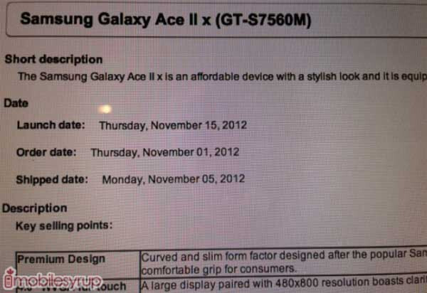 Leaked internal Bell document points to November 15th launch for the Samsung Galaxy Ace II - Samsung Galaxy Ace II coming to Canada's Bell on November 15th