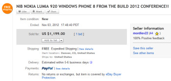 The Nokia Lumia 920 developer edition sold for $1199 on eBay