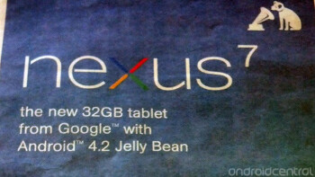 HMV's ad for the 32GB Google Nexus 7 mistakenly shows it with Android 4.2 installed
