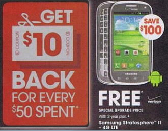 The Samsung Stratosphere II appears on Radio Shack's holiday flyer