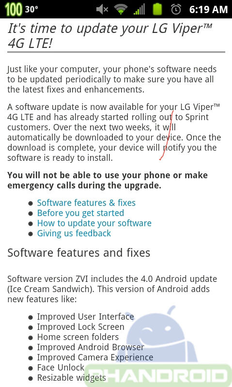 The LG Viper 4G LTE is getting ICS - Ice Cream Sandwich coming to LG Viper 4G LTE