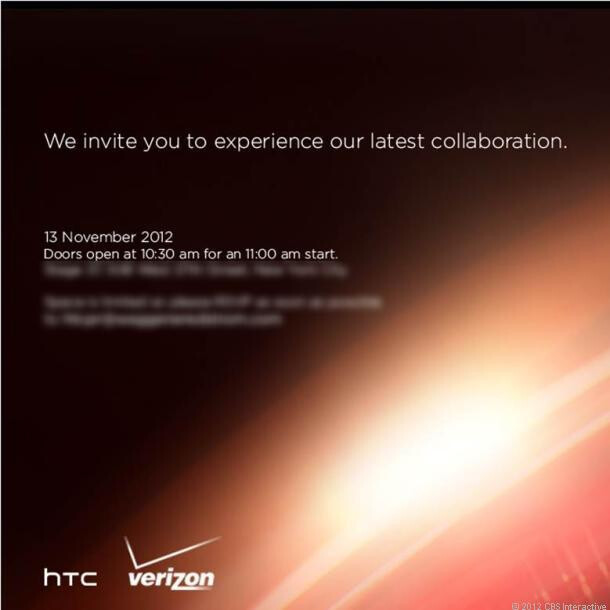 Invitation to Verizon-HTC event on Tuesday, note the similarity in design to the HTC DROID DNA press shot - HTC and Verizon to hold event on November 13th to announce new device, possibly the HTC DROID DNA