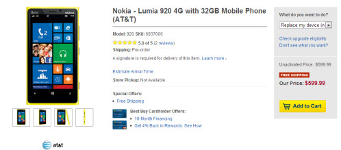 Best Buy will price match earlier orders for the Lumia 920, sells it SIM free for $599