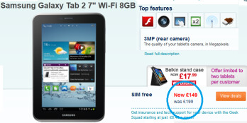 Carphone Warehouse slashes the price on the Samsung GALAXY Tab 2 7.0