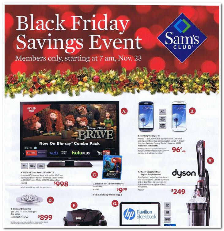 Sams's Club has the Samsung Galaxy S III for 96 cents on Black Friday - Sam's Club holiday flyer shows 96 cent Samsung Galaxy S III deal