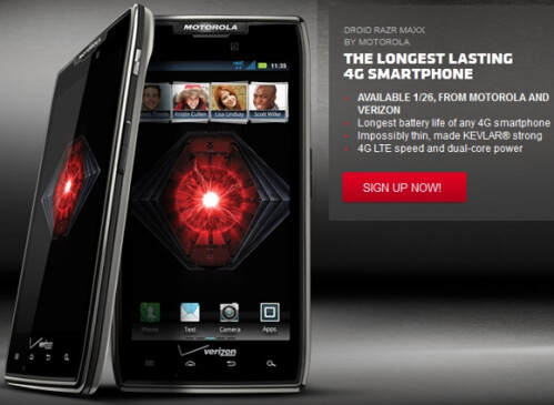 Motorola – DROID RAZR Maxx 4G Mobile Phone – Black (Verizon Wireless) – FREE