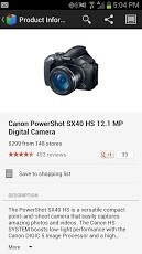 Screenshots from Google Shopper version 3.0