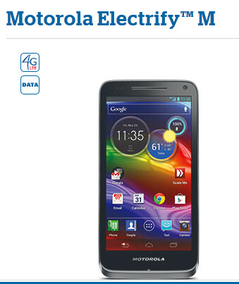The Motorola ELECTRIFY M can be ordered online via U.S. Cellular