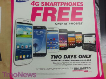 Select Samsung handsets will be free for two days next week at T-Mobile