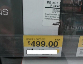 The Google Nexus 10 was spotted at a Walmart
