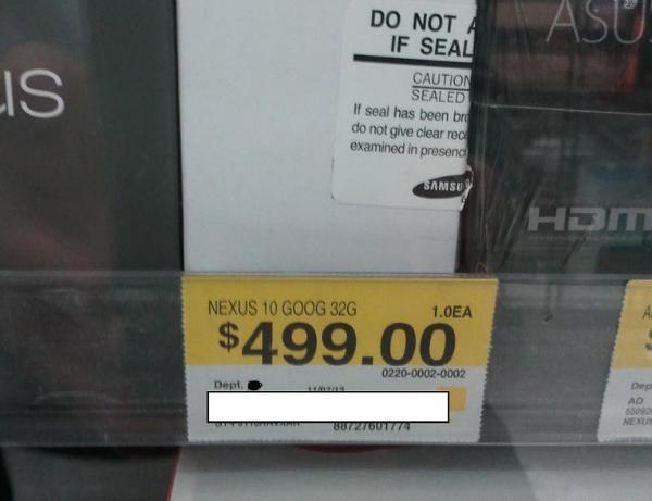 The Google Nexus 10 was spotted at a Walmart - Walmart shopper finds Google Nexus 10 on display