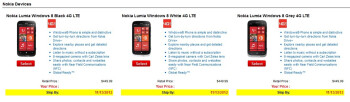 Pre-orders for Nokia Lumia 822 and HTC 8X for VZW now live, ship date Nov. 13th