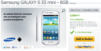 The Samsung Galaxy S III mini is now available in the U.K.
