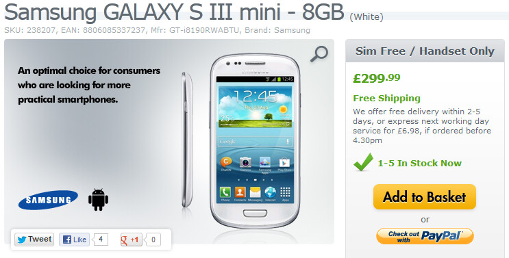 The Samsung Galaxy S III mini is now available in the U.K. - Samsung Galaxy S III mini launches in the U.K.