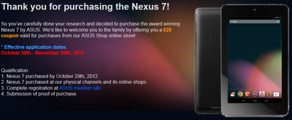 Asus is offering a voucher to certain buyers of the 16GB Google Nexus 7 - Buyers of 16GB Google Nexus 7 before price cut can score refund from Asus or Google