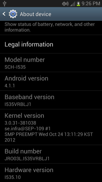 A leaked version of Android 4.1.1 for Verizon's SGS3