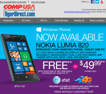 Get a free Nokia Lumia 820 with the purchase of a Windows 8 computer