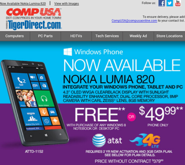 Get a free Nokia Lumia 820 with the purchase of a Windows 8 computer - Buy a Windows 8 PC or laptop and score a 'free' Nokia Lumia 820 from CompUSA
